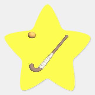 Palillo y bola de hockey hierba pegatina en forma de estrella