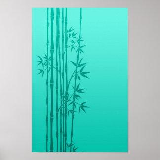 Palillos de bambú de las azules turquesas con las  póster