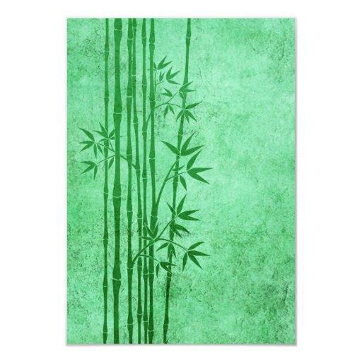 """Palillos de bambú verdes envejecidos vintage con invitación 3.5"""" x 5"""""""