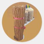 Palillos de canela pegatinas redondas