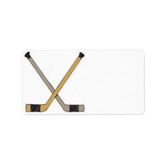 Palillos de hockey etiquetas de dirección