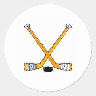 Palillos de hockey pegatina redonda
