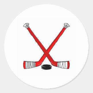 Palillos de hockey etiquetas redondas