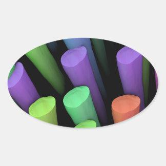 Palillos de la arcilla - pegatina ovalada