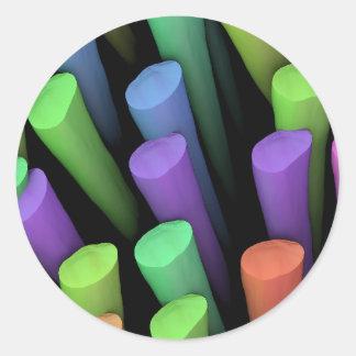 Palillos de la arcilla - pegatina redonda