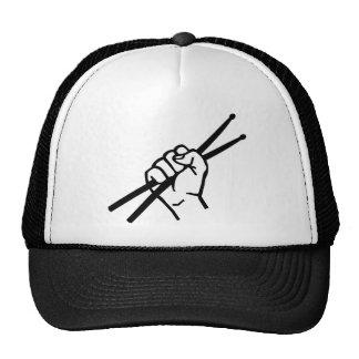 Palillos de la mano del batería gorra