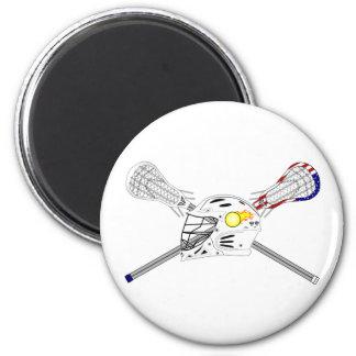 Palillos de LaCrosse con el casco Imán De Nevera