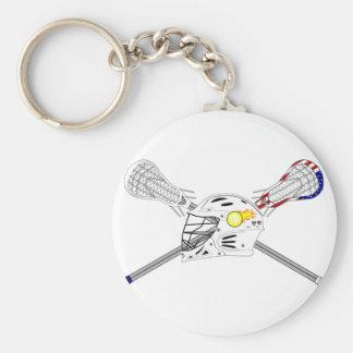Palillos de LaCrosse con el casco Llavero Redondo Tipo Pin