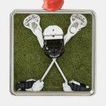 Palillos de LaCrosse, guantes, bolas y casco de Adorno Navideño Cuadrado De Metal