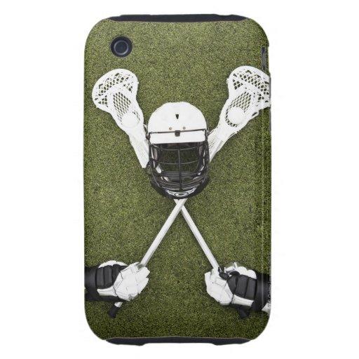Palillos de LaCrosse, guantes, bolas y casco de lo Tough iPhone 3 Cárcasas