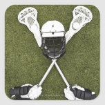 Palillos de LaCrosse, guantes, bolas y casco de Pegatinas Cuadradas