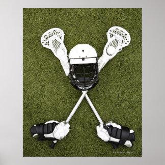 Palillos de LaCrosse, guantes, bolas y casco de Póster