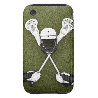 Palillos de LaCrosse, guantes, bolas y casco de Tough iPhone 3 Carcasas