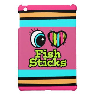 Palillos de pescados brillantes del amor del coraz iPad mini carcasa