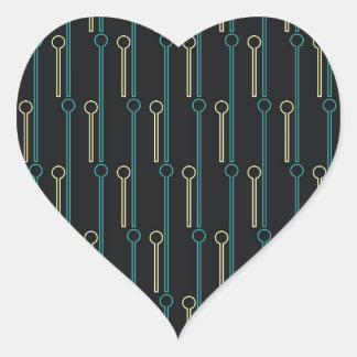 Palillos de Swizzle retros del oro del negro del Pegatina En Forma De Corazón