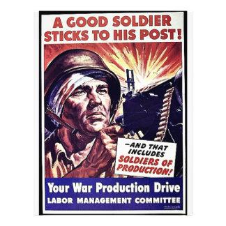 Palillos de un soldado de Goold a su poste Tarjetón
