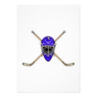 Palillos del casco y de la cruz del hockey azules