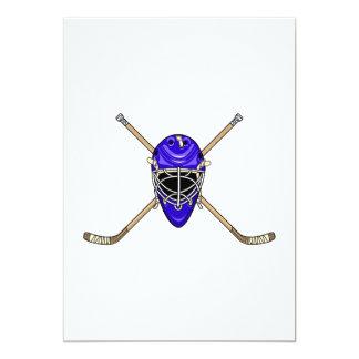 Palillos del casco y de la cruz del hockey azules anuncios personalizados