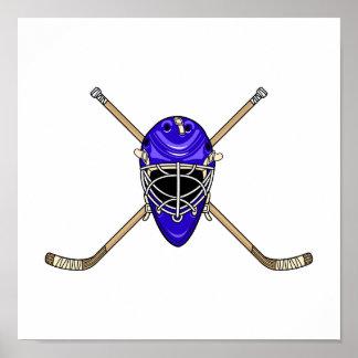 Palillos del casco y de la cruz del hockey azules posters