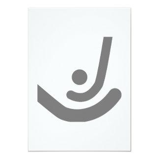 """Palillos del hockey hierba y logotipo grises de la invitación 5"""" x 7"""""""