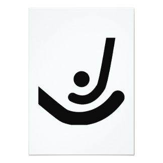 """Palillos del hockey hierba y logotipo negros de la invitación 5"""" x 7"""""""