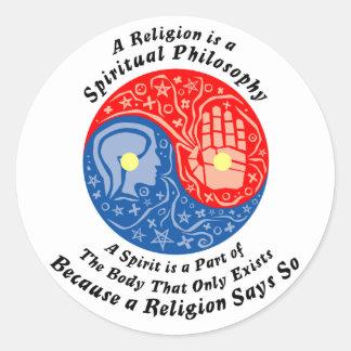 Palillos espirituales etiqueta redonda