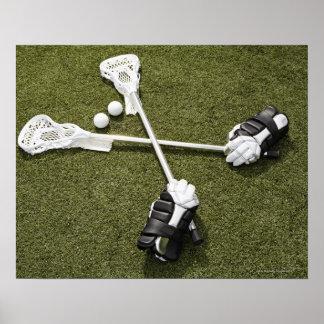 Palillos, guantes y bolas de LaCrosse en Póster