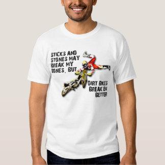 Palillos y camisa divertida del motocrós de la