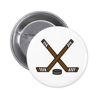 Palillos y duende malicioso de hockey pin redondo de 2 pulgadas
