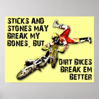 Palillos y poster divertido del motocrós de la
