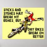 Palillos y poster divertido del motocrós de la bic