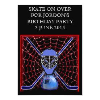 """Palillos y red de hockey invitación 5"""" x 7"""""""
