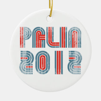 PALIN 2012 blue Faded.png Double-Sided Ceramic Round Christmas Ornament