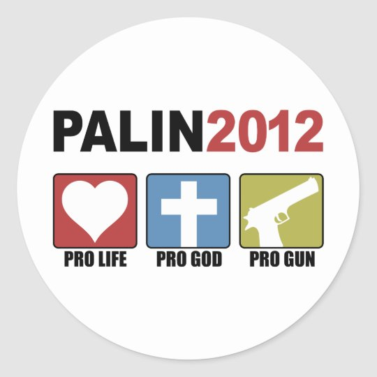 Palin 2012 classic round sticker