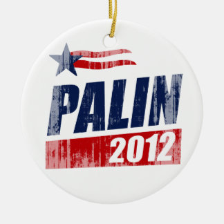 PALIN 2012 Faded.png Double-Sided Ceramic Round Christmas Ornament