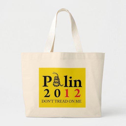 Palin 2012 no pisa en mí bolsa tela grande