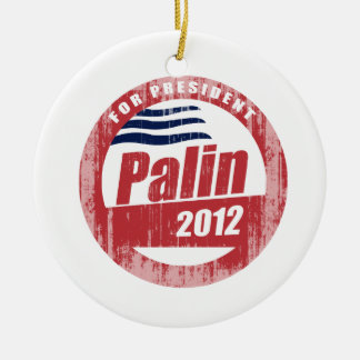 Palin 2012 round red Faded.png Double-Sided Ceramic Round Christmas Ornament