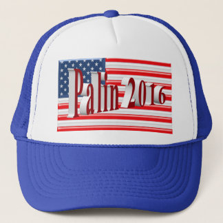 PALIN 2016 Cap, Red 3D, Old Glory Trucker Hat