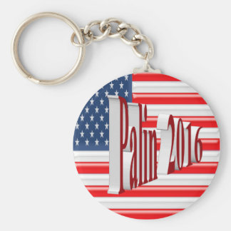 PALIN 2016 Key Chain, Red 3D, Old Glory Basic Round Button Keychain