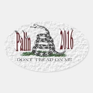 PALIN 2016 Sticker, Burgundy 3D, White Gadsden Oval Sticker