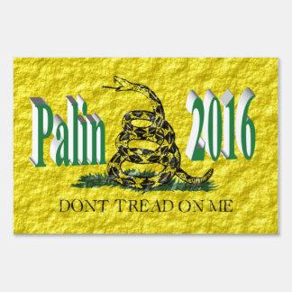 Palin 2016 Yard Sign, Blue Green 3D, Gadsden Lawn Sign