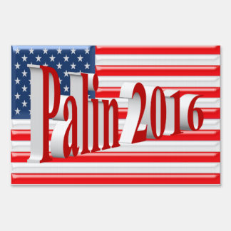 Palin 2016 Yard Sign, Light Red 3D, Old Glory Sign