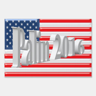 Palin 2016 Yard Sign, White 3D, Old Glory Lawn Sign