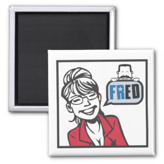 Palin and Fred 2 Inch Square Magnet