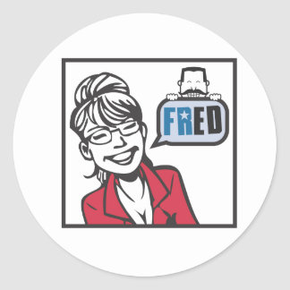 Palin and Fred Round Stickers