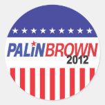 Palin Brown 2012 Pegatinas Redondas