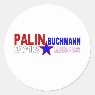 Palin-Buchmann 2012 (señoras primero) Pegatina Redonda