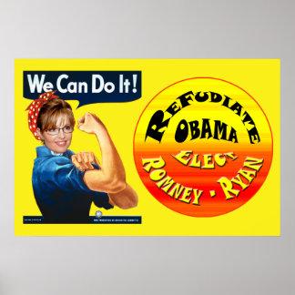 Palin el remachador - Refudiate Obama - elija Romn Póster