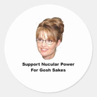 Palin Nucular Power Classic Round Sticker