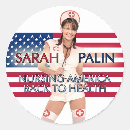 Palin-Oficio de enfermera América de Sarah de Pegatinas Redondas
